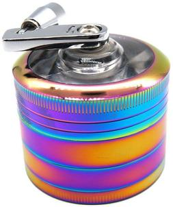 "2"" 4PC Rainbow Tobacco Herb Spice Grinder W/ Handle Crank He"