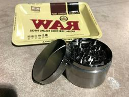 4 Piece Tobacco Grinder Bundle with Rolling Tray 5x7 inches