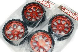 """4 Sweep Terrain Crusher Belted Monster Truck Tires Red 1/2"""""""