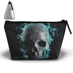 Travel Cosmetic Bags Skull Blue Fire Small Makeup Bag Multif