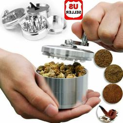 "Herb Grinder Crusher for Tobacco 4 Piece 2"" Zinc Alloy Hand"