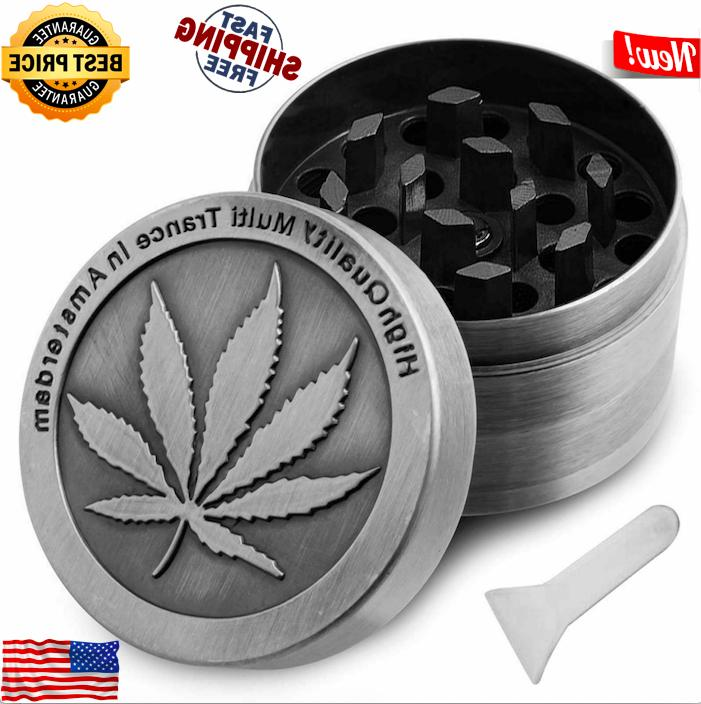 Tobacco Herb Grinder Spice Herbal Crusher 4 Piece Metal 2""