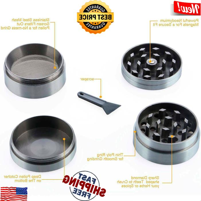 Tobacco Grinder Herbal Smoke 4 Piece 2""