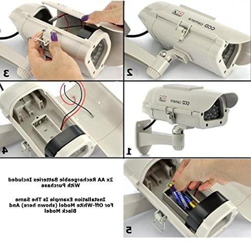 Fake Security Outdoor System, Features Security Solar Powered & LED Light, Rechargeable AA Batteries, Satisfaction .