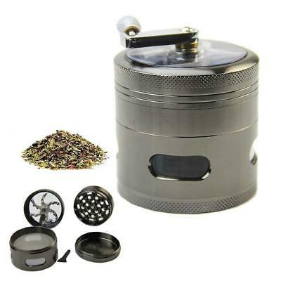 "Handle Mill Grinder 4 Layer 2.5"" Herb Tobacco Spice Crusher"