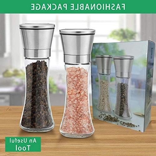 Hotipine and Grinder Tall 6 Oz Steel Mill Shakers 5 Coarseness Ceramic to Use Fill, 2