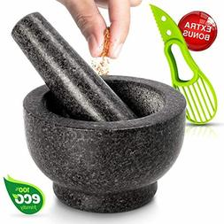 Large Health Smart Granite Mortar and Pestle Stone Bowl Spic