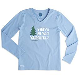 Life is Good. Womens Long Sleeve Crusher Vee: Everyday is Sa