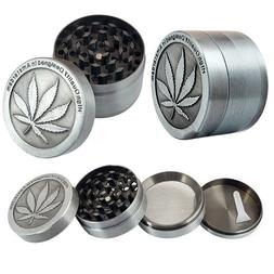 New 4 Piece Herbal Alloy Metal Chromium Crusher Herb Spice G