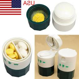 USA Pill Tablet Medicine Cutter Grinder Crusher Storage Orga