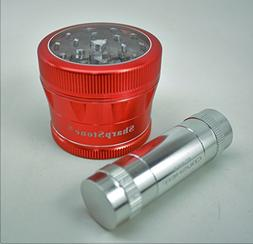 """Sharpstone V2 Clear Top 2.5"""" Red Grinder with a Cali Crusher"""