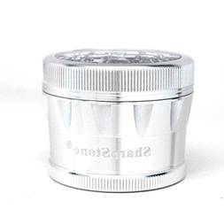 """Sharpstone V2 Cleartop Grinder Silver 2.5"""" with a Cali Crush"""