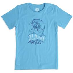 Life is Good Women's Crusher T- Take It Slow on Bright Blue