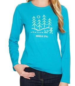Life Is Good Women's Hiking Woods Long Sleeve Crusher Tee Sh