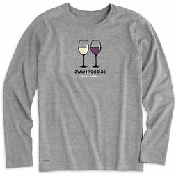 Life is Good. womens crusher tee Long Sleeve RED & WHITE , H